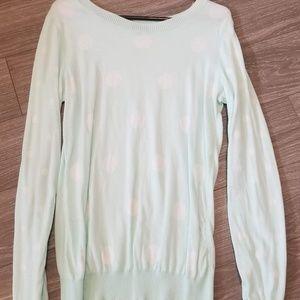 Polkadot Sweater (lightweight) - mint + white